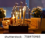 typical swedish advent candle...   Shutterstock . vector #758970985