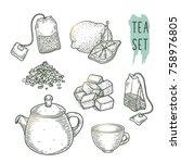 sketch of tea elements include... | Shutterstock .eps vector #758976805
