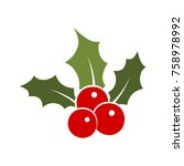 holly berry leaves christmas... | Shutterstock .eps vector #758978992