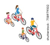 family cyclists riding on a... | Shutterstock .eps vector #758979502