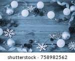 christmas decoration on old... | Shutterstock . vector #758982562