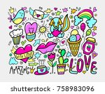 set of cute doodle modern... | Shutterstock . vector #758983096