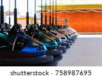 bumper cars lined up at the...   Shutterstock . vector #758987695