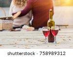 romantic evening on beach. back ... | Shutterstock . vector #758989312