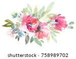 watercolor flowers bouquet.... | Shutterstock . vector #758989702