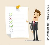 businessman with checklist on... | Shutterstock .eps vector #758991718