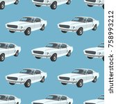 seamless pattern with retro... | Shutterstock .eps vector #758993212