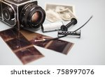 old photo camera with photo... | Shutterstock . vector #758997076