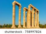 ancient columns of zeus temple...   Shutterstock . vector #758997826