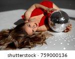 elegant woman in red dress...   Shutterstock . vector #759000136