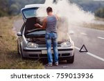 the car broke down  smokes from ... | Shutterstock . vector #759013936