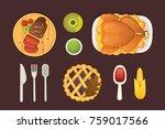 thanksgiving dish menu top view ... | Shutterstock .eps vector #759017566