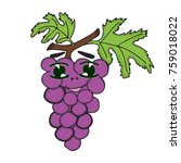 grapes character. funny doodle... | Shutterstock .eps vector #759018022