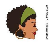 beautiful woman face | Shutterstock .eps vector #759021625