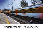 commuter train departing a uk... | Shutterstock . vector #759029092