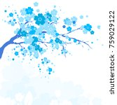 blue silhouete flowers tree  ... | Shutterstock .eps vector #759029122