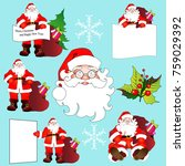 santa claus  christmas set | Shutterstock .eps vector #759029392