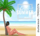 girl on the beach looking at... | Shutterstock .eps vector #759031576