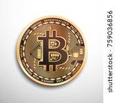 bitcoin golden coin. isolated... | Shutterstock .eps vector #759036856