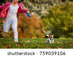 Stock photo girl run in a park with a puppy jack russell terrier happy friends leisure outdoors 759039106