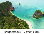 aerial view of tropical island  ...   Shutterstock . vector #759041188
