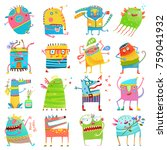 cartoon colorful monsters for... | Shutterstock . vector #759041932