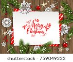 holiday christmas card with fir ... | Shutterstock .eps vector #759049222