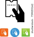 hand holding perforated ticket... | Shutterstock .eps vector #759055162