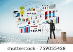 young man with back sketching... | Shutterstock . vector #759055438