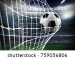 soccer ball scores a goal on... | Shutterstock . vector #759056806