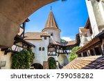 bran castle in inner yard  in a ... | Shutterstock . vector #759058282