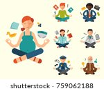 lotus position yoga pose... | Shutterstock .eps vector #759062188