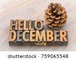 hello december greeting card  ... | Shutterstock . vector #759065548
