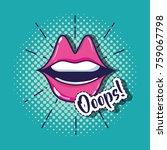 pop art mouth patch design | Shutterstock .eps vector #759067798