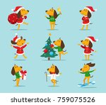 set of cute cartoon christmas... | Shutterstock .eps vector #759075526