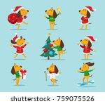 set of cute cartoon christmas... | Shutterstock .eps vector #759075526