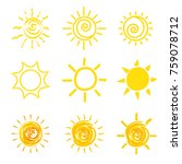 set of yellow sun icons | Shutterstock .eps vector #759078712