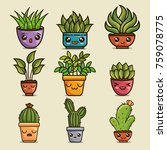 cute lovely kawaii house plants ... | Shutterstock .eps vector #759078775