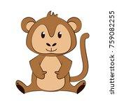 cute monkey cartoon icon vector ... | Shutterstock .eps vector #759082255