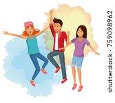 friends jumping cartoon | Shutterstock .eps vector #759098962