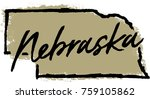 hand drawn nebraska state design | Shutterstock .eps vector #759105862