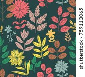 colorful floral seamless... | Shutterstock .eps vector #759113065