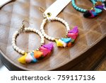 colorful earrings with empty... | Shutterstock . vector #759117136
