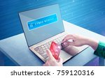 hands using laptop and credit...   Shutterstock . vector #759120316
