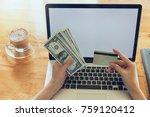 online shopping concept  woman... | Shutterstock . vector #759120412