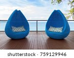 unique stylish sun loungers on... | Shutterstock . vector #759129946