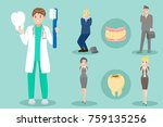 cartoon dentist with patient on ... | Shutterstock .eps vector #759135256
