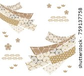 japanese pattern vector. gold... | Shutterstock .eps vector #759137758