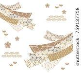 japanese ribbon pattern vector. ... | Shutterstock .eps vector #759137758
