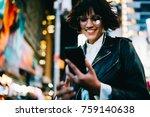 cheerful hipster girl in... | Shutterstock . vector #759140638